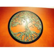 Lindo Quadro Trabalhado E Pintado A Mão - A Árvore Da Vida