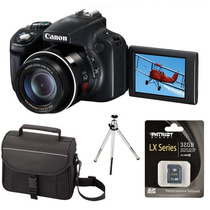Camera Canon Sx50 Hs 50x Zoom + Bolsa +32gb Classe10 + Tripé