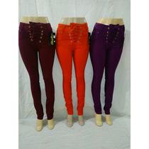 Calça Jeans Feminina Com Lycra Bordo Color Com Ilhos Cordão