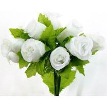 144 Mini Rosas Brancas - Pacotes Rosinhas Cetim Artificiais