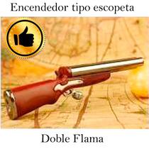 Encendedor Tipo Escopeta Doble Flama Recargable Gas Butano