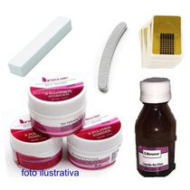 Kit Unha Acrilico Porcelana Lixa 3 Pó Acrílico Monomer