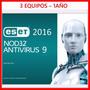 Antivirus Eset Nod32 2016 /para 3 Pc | 1 Año Key Digital !!!
