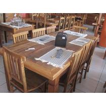 Jogo De Mesa De Jantar 2,00 + 6 Cadeiras Madeira Maciça