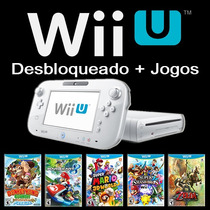 Nintendo Wii U 8gb Desbloqueado + 20 Jogos De Wiiu + Sd 64gb