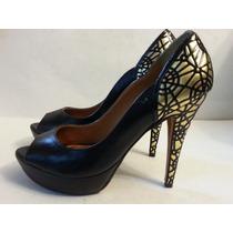 Sapato Feminino Salto Alto,sapato Com Detalhes Dourado