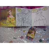 12 Invitacion Bella Para Colorear Incluye 4 Crayolas