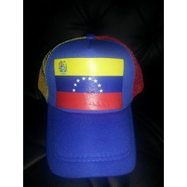 Gorras Tricolor De Venezuela De Maya Ventiladas Ajustables