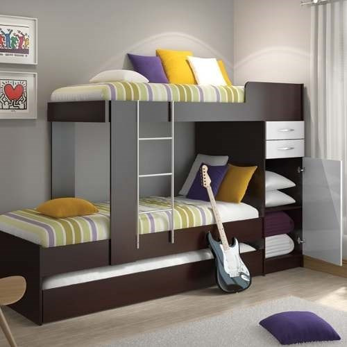 Triple camarote multifuncional color choclate 1 plaza for Sofa cama 1 plaza mercadolibre