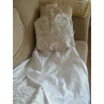 Vestido De Novia Blanco Y Dorado Con Cristales.