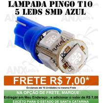 Pingo T10 5 Led Azul Tuning Meia Luz Placa - Anx Leds