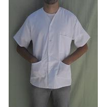 Jaleco Curto Manga Curta Branco Ou Azul Sem Gola 3 Bolsos