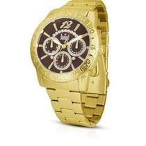 Relógio Dumont Sz8528/3r Dourado Feminino Cronograf Original