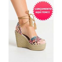Sapato Sandalia Anabela Salto Plataforma Oncinha Peep Toe