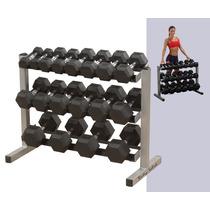 Kit Rack Body Solid Con 10 Pares De Mancuernas Hexagonales