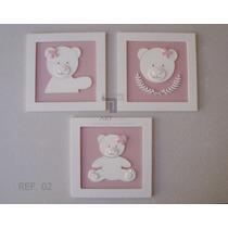 Trio De Quadros Enfeite Ursa Decoração Quarto Menina Rosa