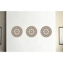Trio Mandalas Mdf 3 Mm Cru Escultura De Parede - 40 X 40 Cm