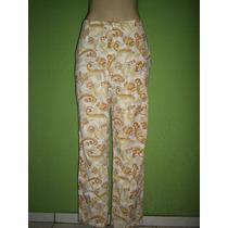Calça Pantalona Cintura Alta Estampa Floral M