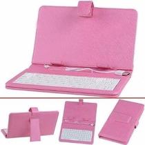 Capa Tablet Case Com Teclado 7 Usb Rosa Com Apoio E Caneta