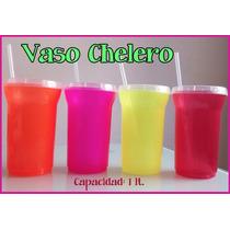 Vaso Chelero Con Popote Colores Neón Para Cerveza