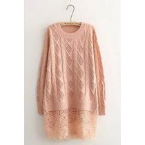 Suku 71080 Bonita Blusa Tejida Con Encaje Moda Japón $899