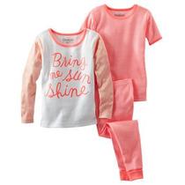 Pijama Algodon Osh Kosh Nena 3 Piezas Talle 5 - Nuevo
