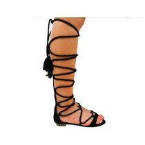 Sandália Schutz Rasteira Gladiadora Preto