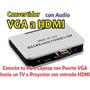 Convertidor Vga A Hdmi Con Audio - Laptop A Tv. De Vga Hdmi