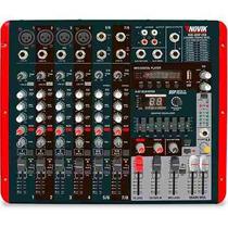 Mesa De Som Amplificada 8 Canais Nvk800p Usb Novik