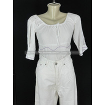Calça Feminina Brim Branca Tam 46 + Blusa Ciganinha Tam G