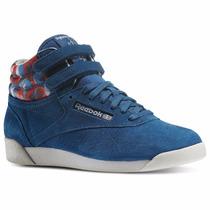 Zapatillas Reebok Classics Freestyle Hi Geo Azul Petroleo