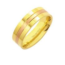 Aliança Anatômica De Ouro E Ouro Vermelho 18k 750 Largura 6