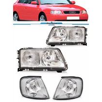 Kit Farol Audi A3 1995 A 1999 Completo Com Par Piscas