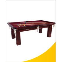 Mesa De Snooker Residencial Mogno Com Pedra Ardósia
