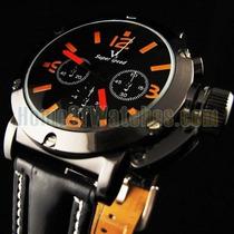 Relógio Masculino Grande V6 Laranja Preto Pulseira Couro
