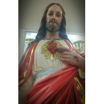 Sagrado Corazón De Jesús Pasta Fina 74 Cm Pintura Al Óleo