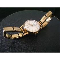 Antigo Relógio De Pulso Feminino Em Plaquê De Ouro A Corda