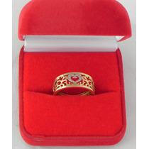 Anel De Ouro Amarelo Com 4 Pedras De Diamantes 18k-750