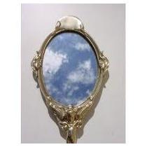 Espelho De Mão Em Bronze Decorado Retratando Anjo No Cabo