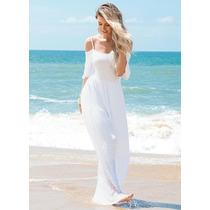 Vestido Longo Ombros De Fora Branco Fim De Ano Praia Baixou