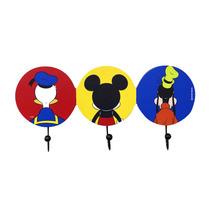 Cabideiro Pendurador 3 Ganchos Mickey E Amigos