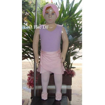 Kit Roupa Uniforme Figurino Ballet Rosa Lilas Infantil Df