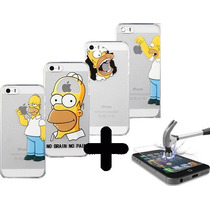 Funda Homero Simpsons Iphone 5 5s 5c + Cristal Templado