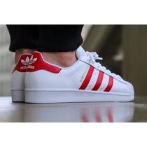 Adidas Superstar 2 Blanco/rojo Bolsa De Tienda+envio Gratis