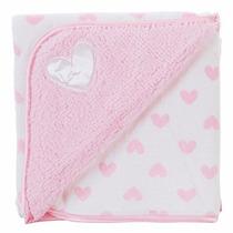 Manta Fleece Bebê Dupla Face Bordado Coração Rosa - Lepper