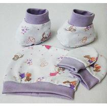 Kit Com 4 - Touca Luva E Sapatinho Para Bebês Estampado/lisa