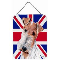 Fox Terrier Del Alambre Con Union Jack Británica Inglés Ba