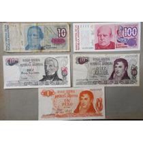 Lote De 5 Billetes De Argentina Circulados