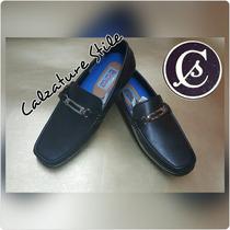 Calzado Zapatos Cuero Mocasín Apache Negro Todo Las Tallas