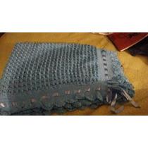 Mantas De Lana ,tejida A Crochet Nuevas1 Celeste Y 1 Blanco
